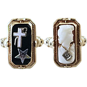 Antique Art Deco 10k gold black onyx cross and star / cameo and diamond habille flip ring, size 6.5 / Order of the Eastern Star / Masonic