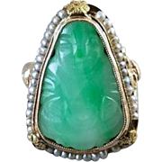 Scarce antique Edwardian pear shaped 14k gold filigree carved jade Buddha ring with full gold wire strung micro seed pearl bezel, size 4.5