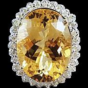 MASSIVE modern estate 14k gold 18.07 carat oval cut citrine quartz and 31 diamond statement cocktail halo ring, size 6-3/4