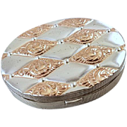 Vintage Art Deco 1940 patent date sterling silver and rose gold quilted pattern mirrored compact signed Evans