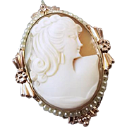Vintage art Deco yellow and rose gold filled hand carved shell cameo with seed pearl bezel brooch pin pendant signed Van Dell
