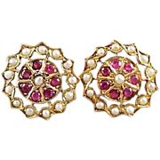 Vintage European made 18k gold ruby and seed pearl threaded safety screw down post pierced halo earrings with scalloped borders