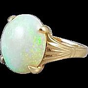 Colorful vintage Art Deco 14k gold 4.32 carat opal cocktail dinner solitaire ring, size 6