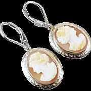 Vintage Art Deco 14k white gold cameo pierced lever back earrings