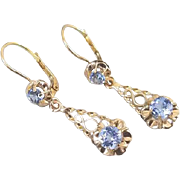 Antique European made mid century vintage 14k gold lever back buttercup set baby blue paste pierced wire work earrings
