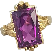 Vintage Art Deco 10k gold childs baby midi ring with violet synthetic sapphire, size 1, signed House of Kraus Inc, Pittsburgh PA