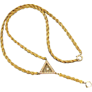 Antique early Art Deco 1920s 14k braided woven gold seed pearl Y necklace for pendant / lapel watch / pendant watch / lavalier