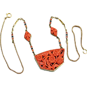 Fantastic early antique Art Deco 1920s 14k gold hand carved floral red coral and enamel necklace