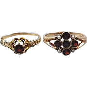 Pair of antique Edwardian rose gold garnet ring signed WWW White Wile Warner / must stay together / please don't separate us!