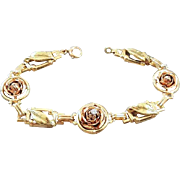 Vintage mid century 14k tri color yellow, green and rose gold diamond rose link bracelet / 16.9 grams / signed Soret Somers Ernst Co NY NY