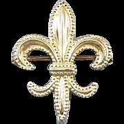 Antique gilt on sterling silver milgrained fleur de lis brooch pin / hook back attachment / pocket watch / lapel watch / watch pin