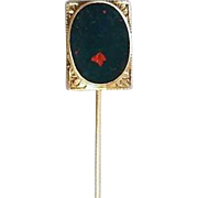 Antique early Art Deco 1920s 10k bloodstone stick pin / signed William C Green & Co / stickpin / lapel pin / tie pin / tie tack / brooch