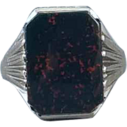 Antique early Art Deco 1920s 10k white gold bloodstone UNISEX ring signed WWW White Wile Warner / size 9-1/4