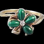 Vintage 10k gold green malachite and diamond 4 leaf clover shamrock ring / size 8 / good luck / lucky / irish / ireland / mid century / Claddagh