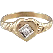 Antique Edwardian 10k gold heart shaped diamond baby or childs or / midi ring signed Ostby Barton, size 3-3/4