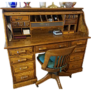 Solid oak roll top bankers desk / office / study / student / business / with lights and locks / built in filing system / furniture / home / decor