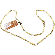 "Vintage NOS new old stock Sweet 18"" gold fill engrave bar link necklace, pendant, chain, neck chain, gold chain, jewelry supply, replacement"