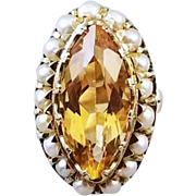 Stunning hand crafted vintage mid century 14k gold marquise cut navette 6 carat citrine and seed pearl statement ring, size 5.5