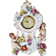 Gorgeous vintage porcelain hand painted Mercedes Dresden Germany clock, vanity, cherubs, putti, shabby chic, antique, mantle clock, nursery