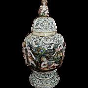HUGE Vintage mid century Italian Capodimonte Bernini majolica ceramic hand painted covered lid urn vase, cherub, putti, shabby chic, Italy
