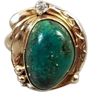 Vintage Hand-Crafted Southwest Native American Indian 14k gold green turquoise in matrix and diamond ring , size 6