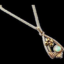 Antique Art Nouveau Edwardian 14k multi color gold opal flower pendant, lavalier, necklace, lavaliere, Arts and Crafts