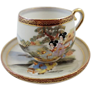 Vintage hand painted Made in Occupied Japan demitasse cup & saucer, porcelain, china, bone china, tea, coffee, tea party, tea time, high tea