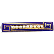 Petite antique early Art Deco 10k gold cobalt blue enamel Greek Key seed pearl bar pin, signed Kohn & Company