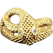 Vintage 18k gold diamond textured snake ring, 1972, mens, womens unisex, size 9-1/2, English London Assay Office maker marked, 8.2 grams