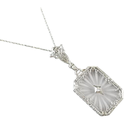 Gorgeous 14k white gold antique Art Deco 1920s camphor glass and diamond filigree pendant necklace