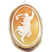 Vintage estate full body 14k gold cameo pendant brooch pin, mid century