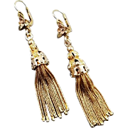 Antique mid Victorian 14k gold long foxtail keyhole pendant drop shoulder sweeper tassel tassle earrings, hinged leverback pierced ear wires