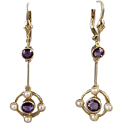 Vintage European Art Deco 15CT gold amethyst seed pearl pierced lever back earrings, art deco, antique earrings, vintage earrings, purple