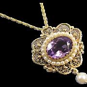 Vintage estate 14k gold 6.68 carat purple amethyst pearl halo beaded filigree pendant necklace brooch pin, signed Wasko NY