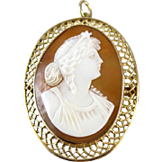 Antique Victorian Star Goddess 10k cameo brooch pin pendant Signed Granbery