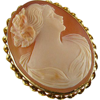 Signed Micallef vintage Art Deco 10k  cameo brooch pin