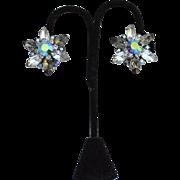 Vintage Signed BEAU JEWELS Chunky Rhinestone Clip Earrings