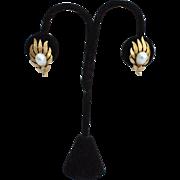 Vintage Signed CROWN TRIFARI Faux Pearl Earrings