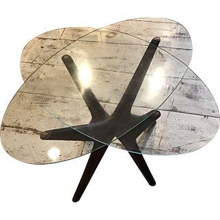 "Mid Century Modern Danish ADRIAN PEARSALL ""Jacks Base"" 2 pc Floating Glass Coffee Side Table"