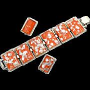 Vintage Citrus Orange Super Wide Confetti Lucite Demi, Bracelet and Earrings