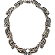 Vintage Hallmarked MARGOT de TAXCO Heavy Detailed Sterling Silver Necklace, 88 Grams