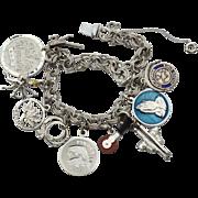 Vintage Hallmarked ATLAS STERLING Silver Loaded Charm Bracelet, Mechanical, Enamel