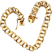 Vintage Hallmarked 12K Yellow Gold Filled Double Link Charm Bracelet