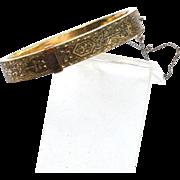Dated 1880 Victorian Era Gold Filled Taille d'Epargne Enamel Bangle Bracelet