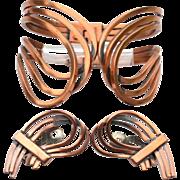 Vintage Signed RENIOR Copper Modernist Demi, Bracelet and Earrings