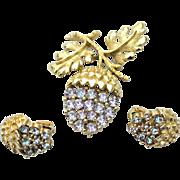 Vintage Acorn Leaf Rhinestone Set, Pin and Earrings, Blue/Purple Rhinestones