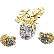 Vintage Acorn Leaf Rhinestone Set, Pin and Earrings, Blue/Purple Rhinestones