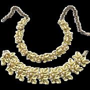 Vintage Signed JUDY LEE Demi Parure, Necklace Bracelet, Faux Pearls and Rhinestones, Leaf Design