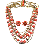 Vintage 9 Strand Coral Colored Gold Toned Demi, Necklace and Beaded Cluster Clip Earrings