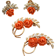 Vintage Carved Coral Celluloid Flower Demi Parure, Pins and Matching Earrings, Pearls and Rhinestones